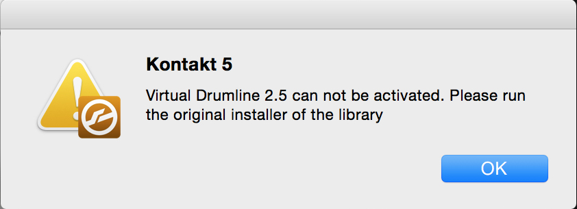Virtual Drumline 2.5 can not be activated. Please run the original installer of the library